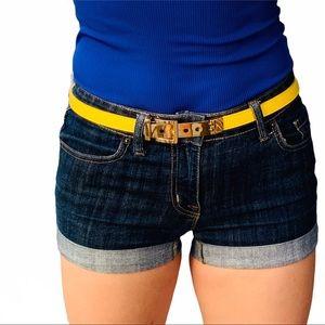 CC SKYE 18K Gold Alloy Yellow Leather Skinny Belt